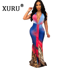 XURU 2019 new hot womens dress digital printing casual fashion V-neck large swing nightclub