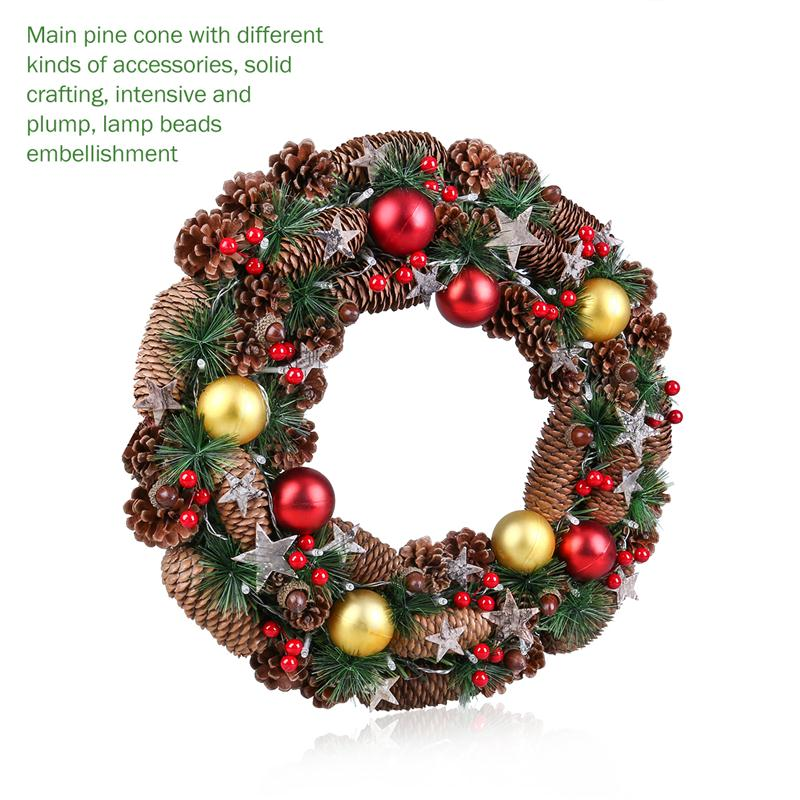 christmas wreath decorative garland with pine cone acorn pine needle berry battery operated warm white led lights for decoration