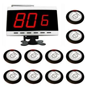 Sistema de llamada inalámbrico, camarero botón para video shop.10 piezas rojo campana de tabla de APE700 y 1 piezas receptor Pantalla de APE9600.
