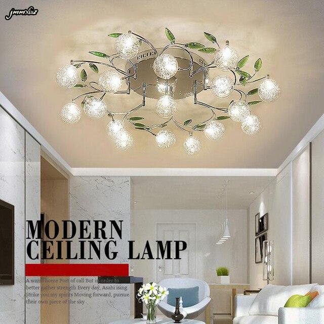 Ac110v 220 V Diseño De Arte Moderno Candelabro Led Lámpara Alambre Aluminio Candelabros Cristal Decoración Hoja Verde Montaje Techo Li
