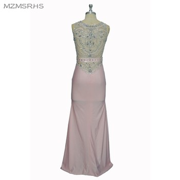 MZMSRHS Mermaid Evening Dresses 2017 Scoop Neck Sleeveless Pink Spandex with Crystal Beaded Prom Dresses 2017 Party Gowns
