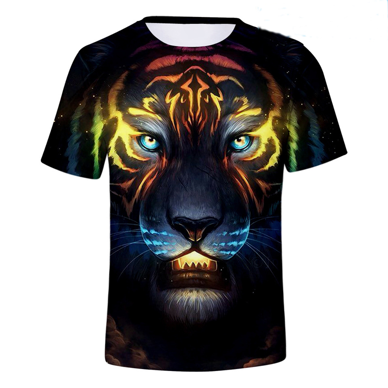2018 новый хлопок шею Темная ночь King 3D TigerPpersonality тренд лета цифровая печать с короткими рукавами футболка