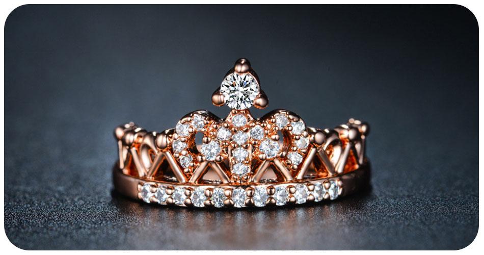 Bague couronne en plaqué or 18 carat de face