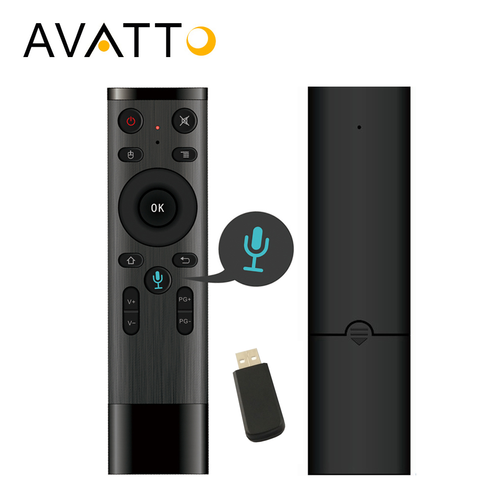 AVATTO Control de voz Fly Air ratón Gyro de juego. 2,4 GHz micrófono inalámbrico de Control remoto para TV inteligente Android Box PC