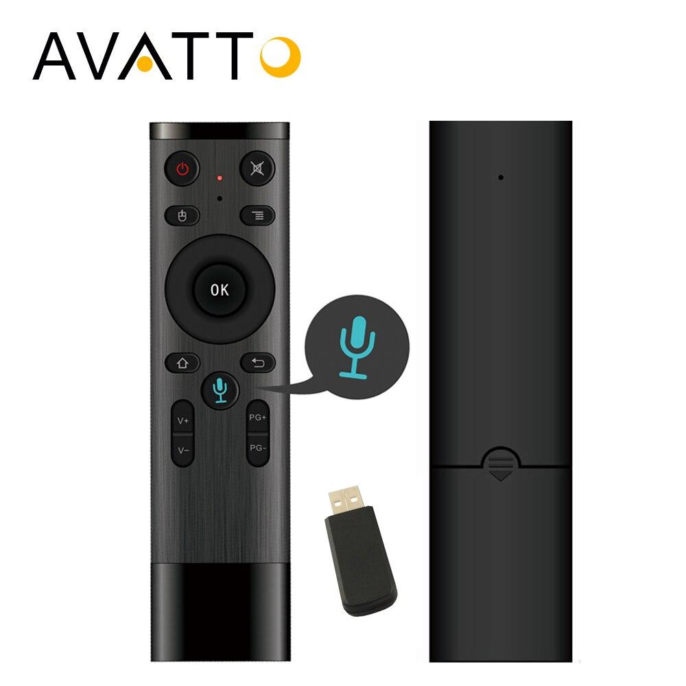 AVATTO Q5 Control de voz Fly Air ratón Gyro de juego 2,4 GHz micrófono inalámbrico de Control remoto para Android TV Box PC