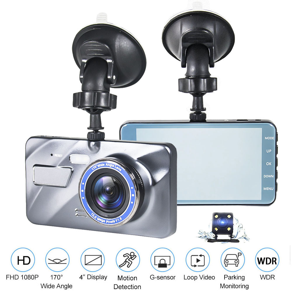 2018 New Dual Lens Car DVR Camera Dash Cam 1080P 4.0 Video Recorder Registrator G Sensor LED Night Vision Car Camcorder DVR