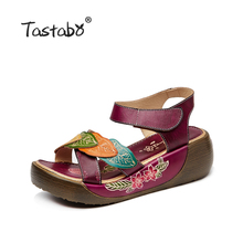 Tastabo Women Sandals 2017 Summer Genuine Leather Gladiator Sandals Women Shoe Fashion Flat Casual Shoe Handmade Sandals Female