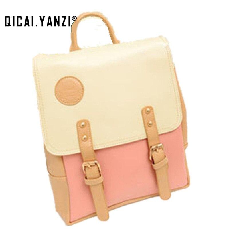 Promotion 2017 New Vintage PU Leather Travel Shoulder Women Satchel Backpack School Bag High Quality P108 mochila bolsas