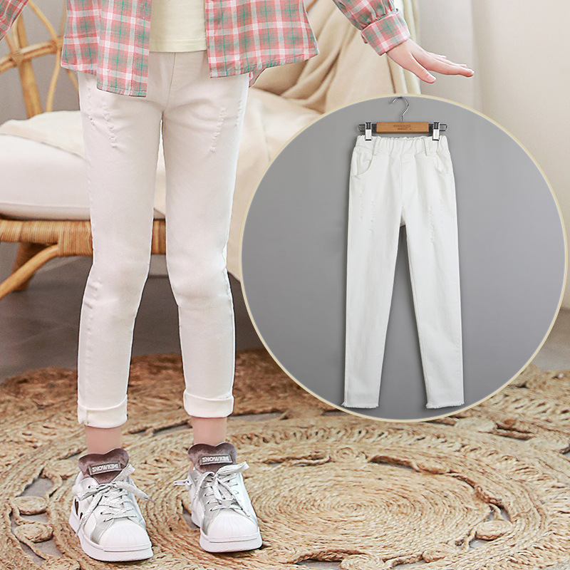 Children's Jeans Elastic Bell Pants Pure Cotton Comfortable Soft Size Trend Slim New In 2018 colorful jeans male slim print elastic skinny pants trousers trend pattern male jeans