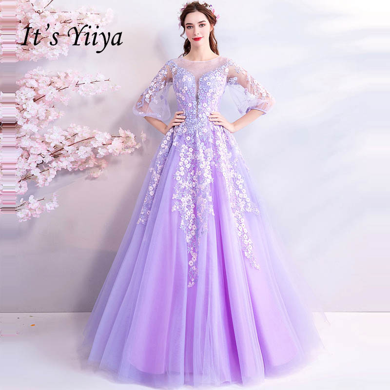 It's Yiiya   Evening     Dresses   Illusion Lace Up Floral Flowers Half Sleeve Floor Length Bride Party   Evening   Gowns Prom   Dresses   LX792