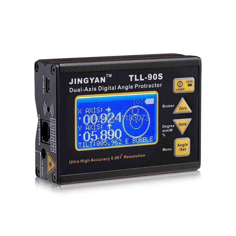 LCD cyfrowy kątomierz inklinometr profesjonalny dwuosiowy poziom lasera narzędzia miernik kąta wysoka dokładność 0.005 TLL-90S