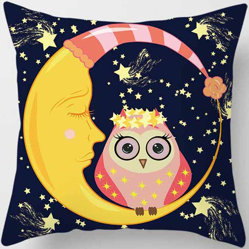 Hot sale cartoon funny owl sit on the moon women men Pillow case boys girls weeping pillow cover size 45*45cm