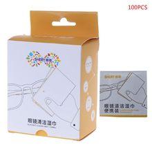 100 pcs Glasses Cleaner Disposable Wet Paper Tissue Cloth Cl