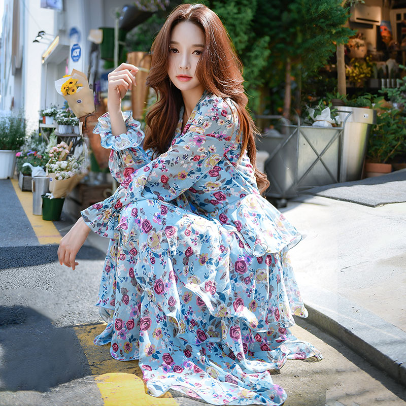 Dabuwawa Spring V Neck Print Chiffon Maxi Dress for Girls Women 2019 New Long Puff Sleeve A Line Boho Holiday Dress DN1ADR025 in Dresses from Women 39 s Clothing