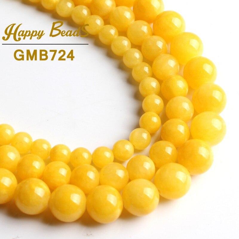 8mm Round Yellow Chalcedony Gemstone Beads 15 Inch Beads