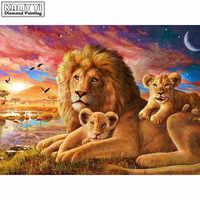 Full Square drill 5D DIY Diamond painting Lion family Embroidery Mosaic Cross Stitch Rhinestone decor HYY