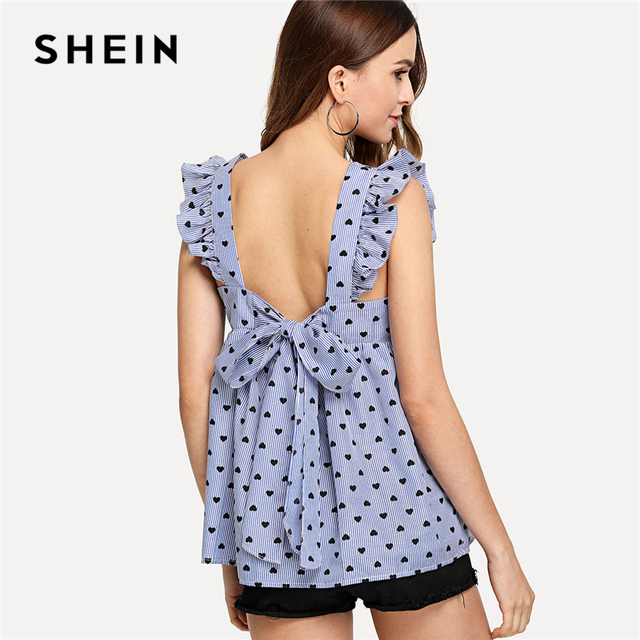 f59ab65fe9d07a SHEIN Blue Elegant Backless Ruffle Detail Knot Back Round Neck Sleeveless  Blouse Summer Women Weekend Casual Shirt Top