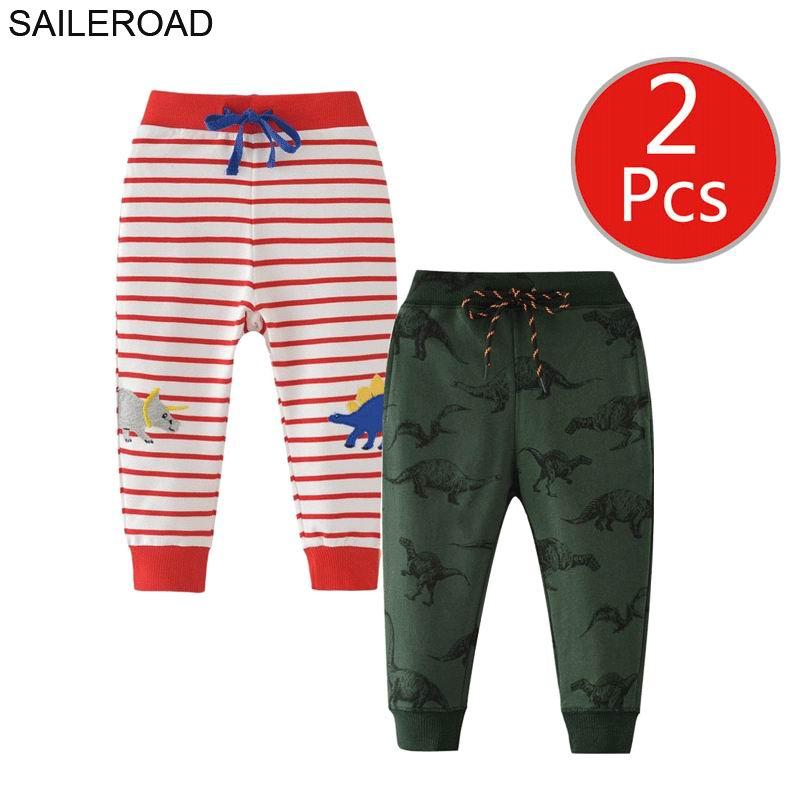 SAILEROAD 2pcs Cartoon Hug Me Dinosaur Pants Kids Boys Fall Clothes Children 7 Year Kids Sweatpants Warm Pants for Boy Trousers 4