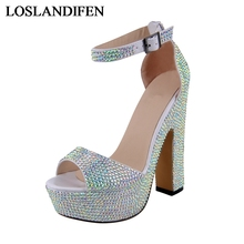 Summer Shoes Woman Rhinestone Sandals Women Sexy Thin High Heels Ladies Party Wedding Platform Ankle Strap Shoes NLK-A0150 недорого