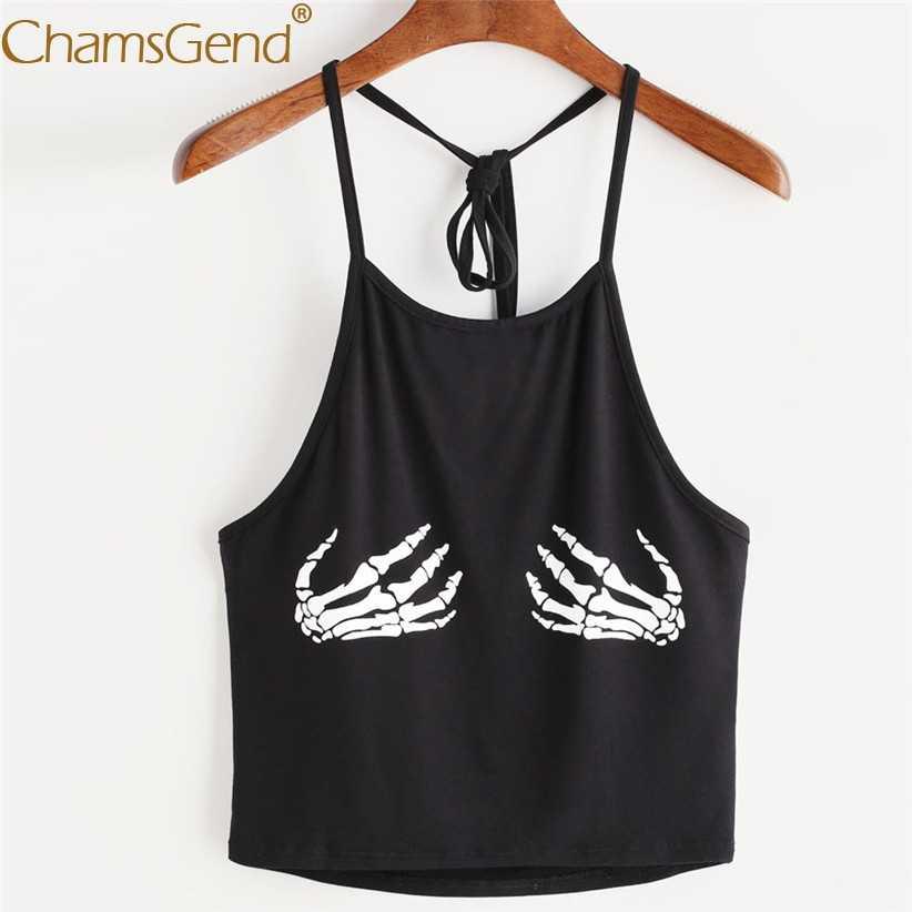 Новый дизайн, топ на бретелях с принтом черепа для женщин и девочек, летний черный короткий топ без рукавов, женская блузка, Укороченная рубашка, 80403