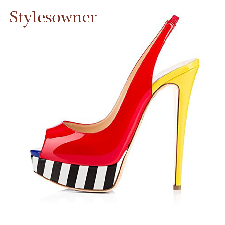 Stylesowner spring summer new peep toe high heel sandals shoes women fashion mixed color platform pumps sexy lady stiletto heels wholesale lttl new spring summer high heels shoes stiletto heel flock pointed toe sandals fashion ankle straps women party shoes