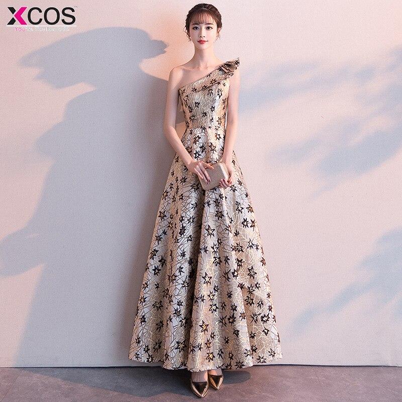 One Shoulder   Prom     Dresses   Elegant 2019 Satin Long Party Gowns Floral Women`s Vestido De Formatura Longo