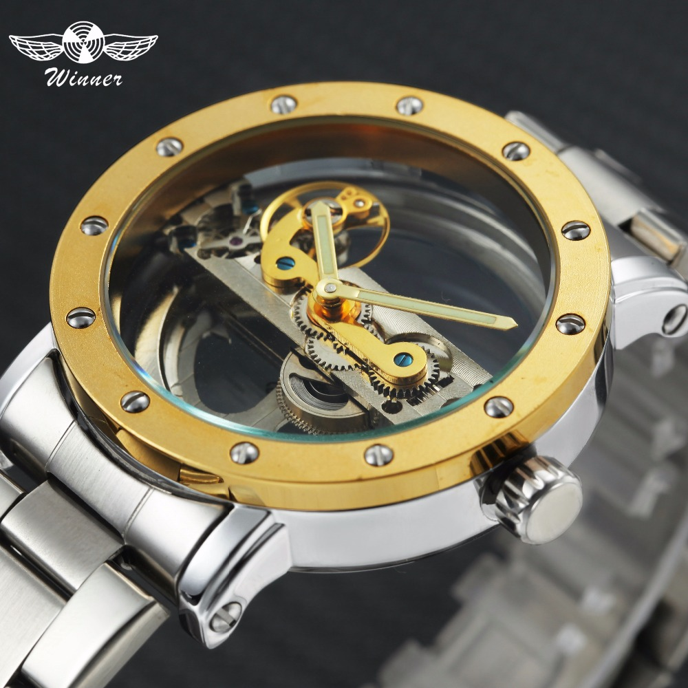 WINNER Golden Bridge Mechanical Mens Watches Top Brand Luxury Metal Strap Transparent Case Classic Business Wrist Watch Men winner transparent golden case luxury casual design brown leather strap mens watches top brand luxury mechanical skeleton watch