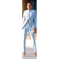 NEW 2017 Fashion Light Blue Womens Business Suits Female Office Uniform Formal Pant Suits For Weddings