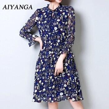 f4576f78cb7 2018 сезон  весна–лето с длинным рукавом шифоновое платье для Для женщин  принт Платья