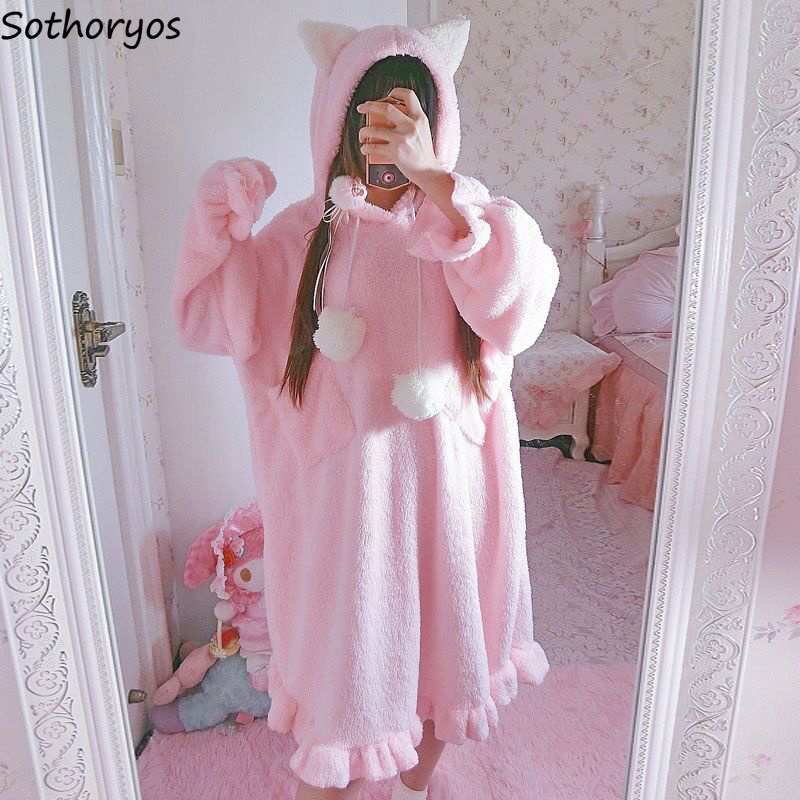 Nightgowns   Women Japanese Style Cute Cat Ears Solid Sweet Warm Thicker Long Sleeve Womens   Sleepshirts   Casual Ladies Homewear