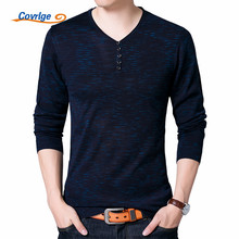 Covrlge Autumn V Neck Mens Sweaters Long Sleeve Slimfit Pullover Male Brand Clothing Casual Knitted Sweater Men Cardigan MZL008