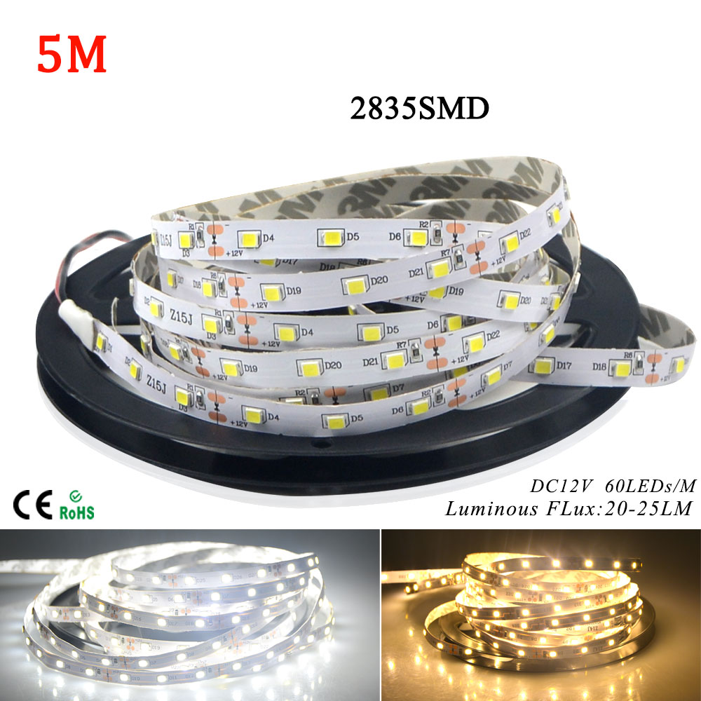 AMENTE LED Strip Light 2835 DC12V 5M 300 LEDs flexible Indoor Ribbon String Non waterproof home