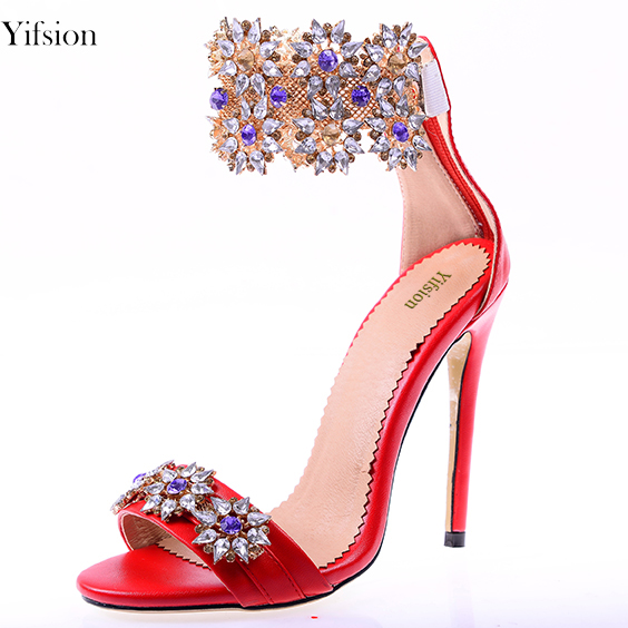 37d9ce065842 Yifsion New Women Gladiator Sandals Thin High Heels Rhinestone Sandals Open  Toe Red Gold Prom Shoes Ladies US Plus Size 3-10.5