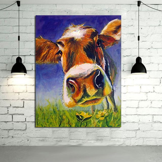 Cow Wall Art aliexpress : buy 100%handpainted oil painting canvas adorable