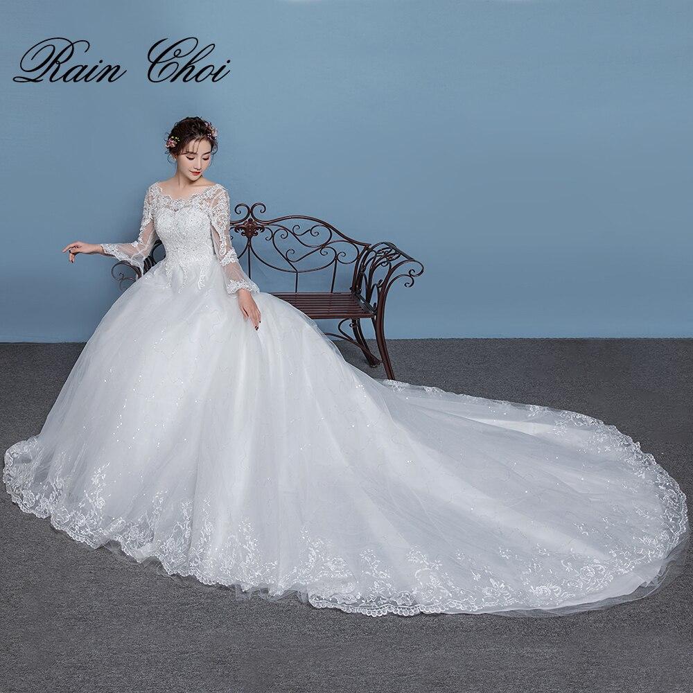 Sleeves Bridal Gowns Lace Up Back Long Train vestido de novia ...