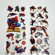 6PCS / lot Spiderman Party Supplies Mixed Cartoon Bubble Stickers Children Kids Crtoon Superhero Decoration Birthday Gift