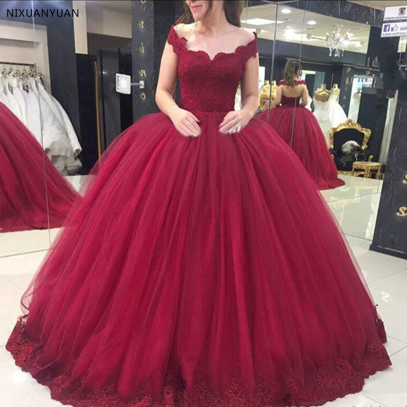 Elegant Evening Dresse Formal Party Gown 2019 Vestido Noiva Sereia Burgundy Ball Gown Prom Party Robe De Soiree