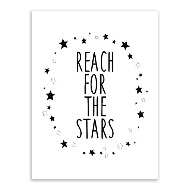 Black white nordic minimalist typography stars quotes poster print wall art boy kids room decoration canvas