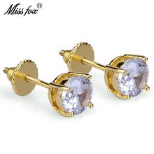 HOT!!! Hiphop 24K Gold Plated Earrings Studs Free Shipping Round Zirconia Oorbellen 6MM Wholesale Piercing Male Earring Gifts