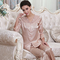 Verano 2016 primavera Mujer elegante conjuntos de pijamas damas satén pijamas ropa de noche mujeres más del tamaño XXXL salón Pijama establece Mujer