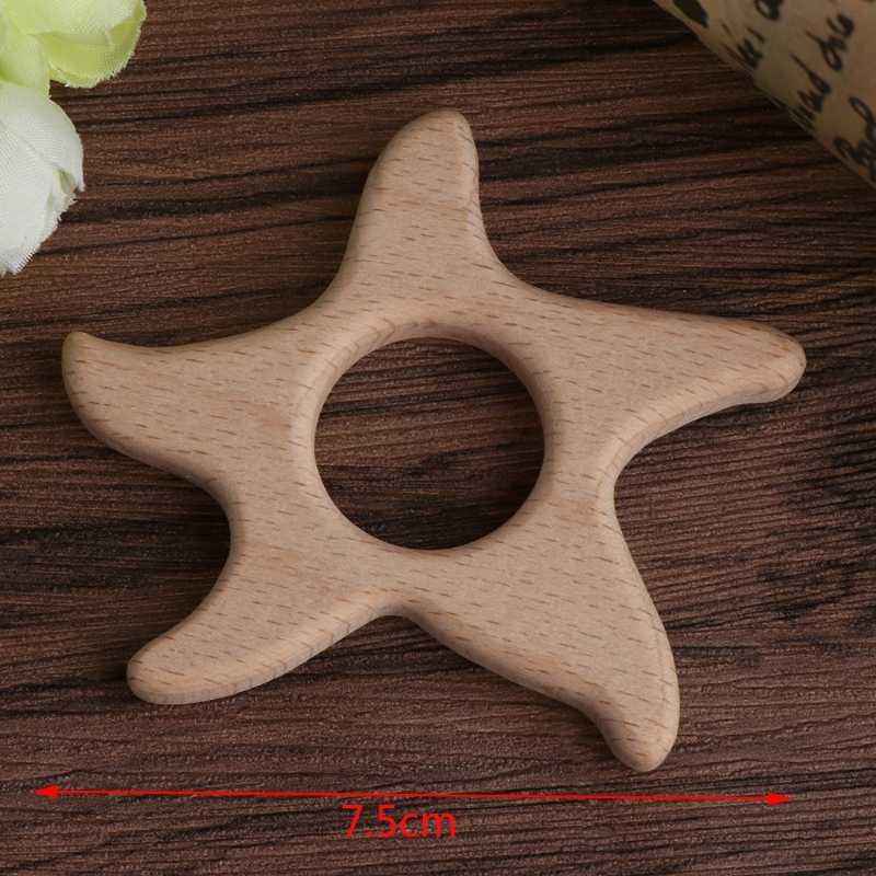 2018 bebé hecho a mano Natural de madera estrella de mar forma bebé niños mordedor dentición juguete ducha regalo JUL4_17