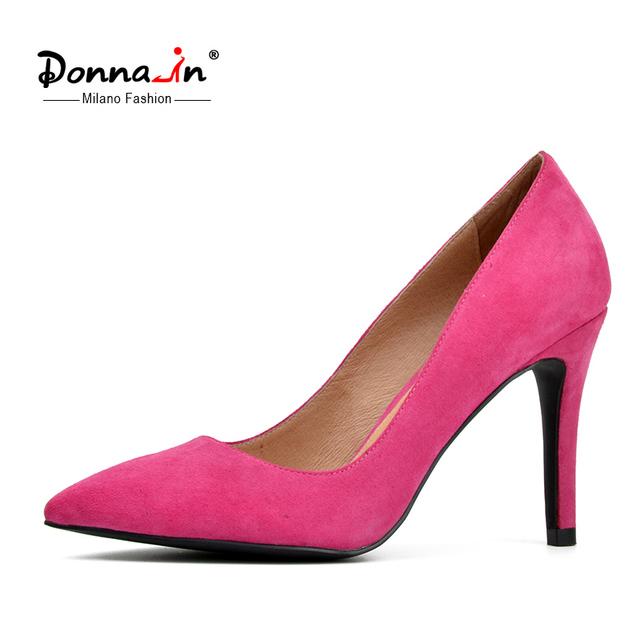 Donnain 2016 primavera nuevas colecciones finas y de alta talón bombas de gamuza de oveja de cuero genuino zapatos de punta de la mujer bombas