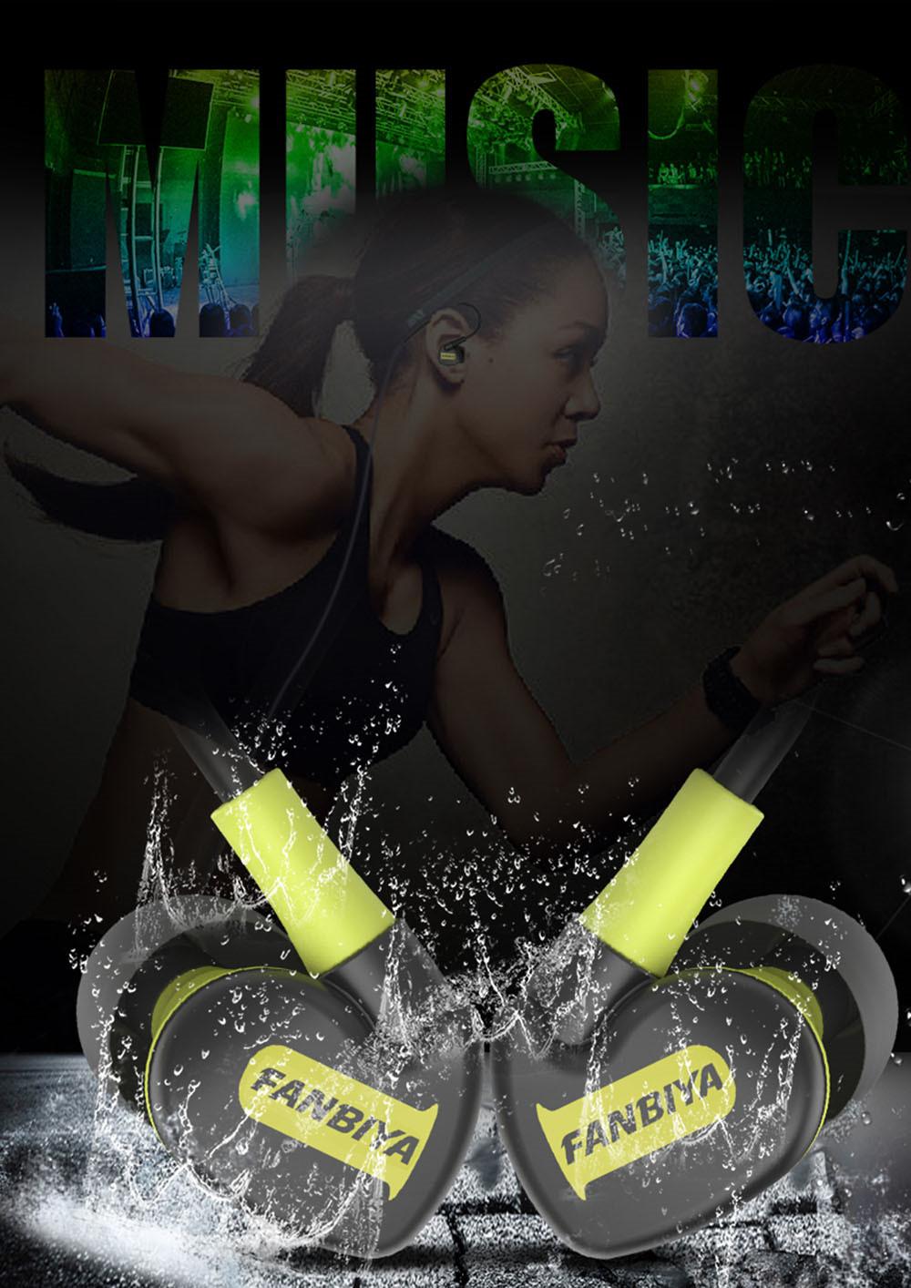 Super Bass Sweat Proof Sports Earphones Black+Green 4
