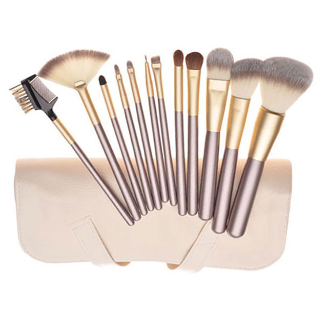 1 12 Pcs Makeup Brush Set Synthetic Professional Makeup Brushes Foundation Powder Blush Eyeliner Brushes With Brush Roll