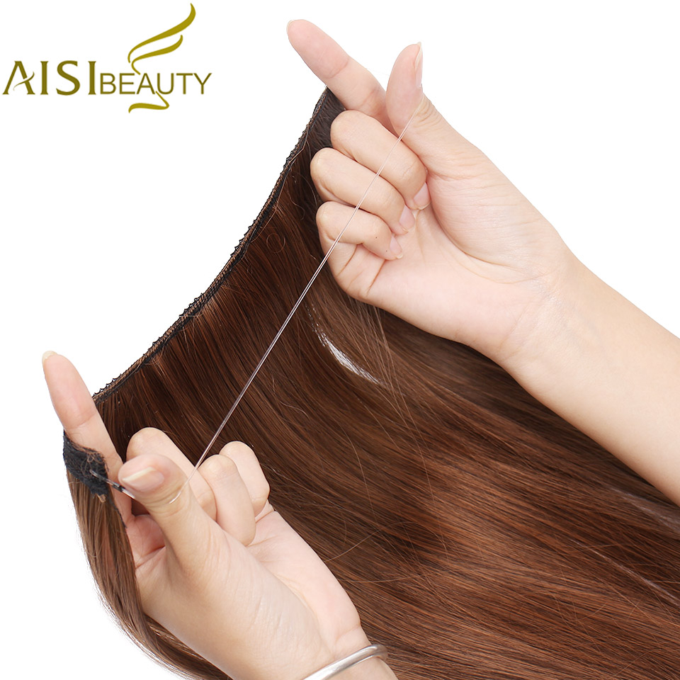AISI BEAUTY Invisible Wire No Clips In Hair Extensions Secret Fish Line Hairpieces Silky Straight Real Natural Synthetic
