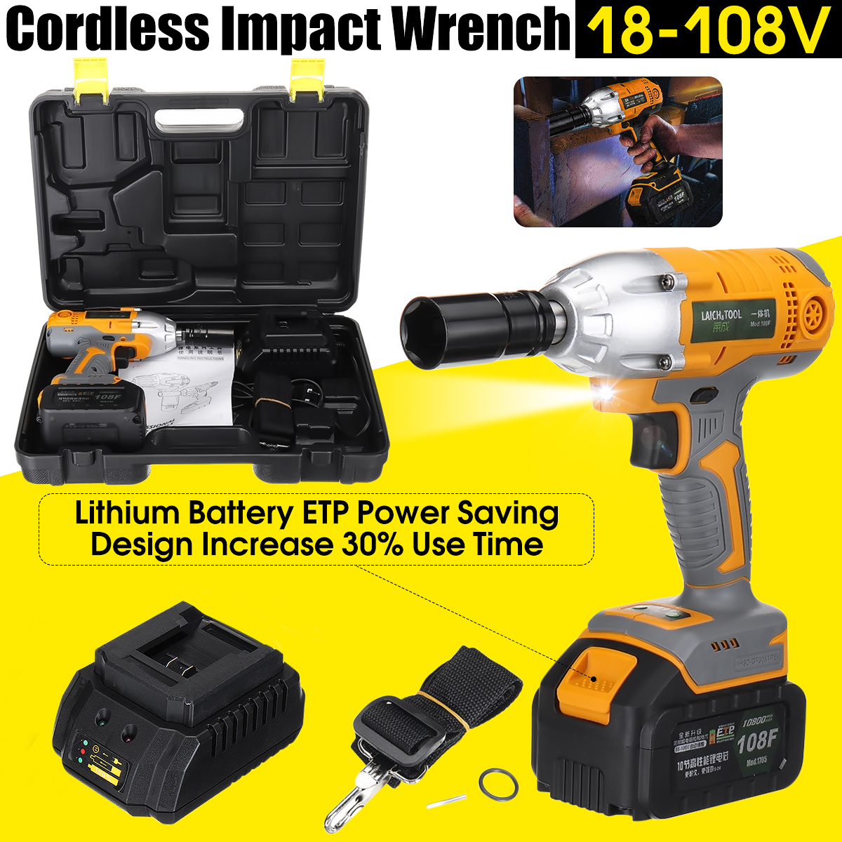 Brushless Cordless Electric Wrench Impact Socket Wrench10800mAh Li Battery Hand Drill Installation Power Tools цена