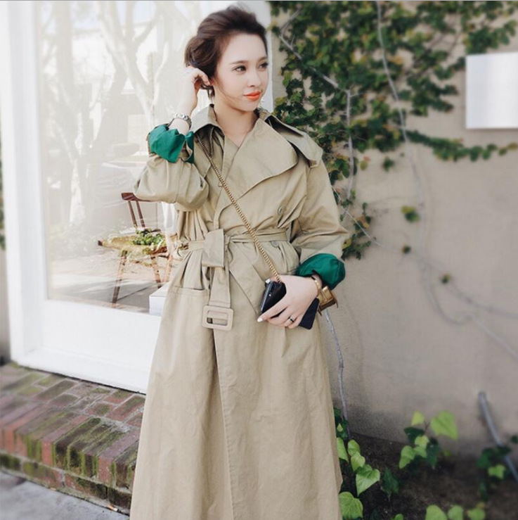 2018 New Arrival Korean Women Trench Long Sleeve High Waist Sashes Double Breasted Embroidery Casual Coat