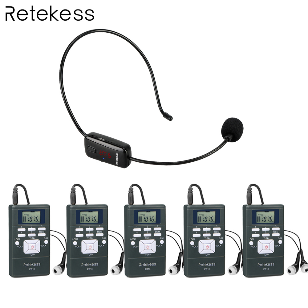 Wireless Voice Transmission System 1 FM Transmitter TR503+ 5 FM Radio Receiver PR13 for Tour Guiding Church Meeting Training