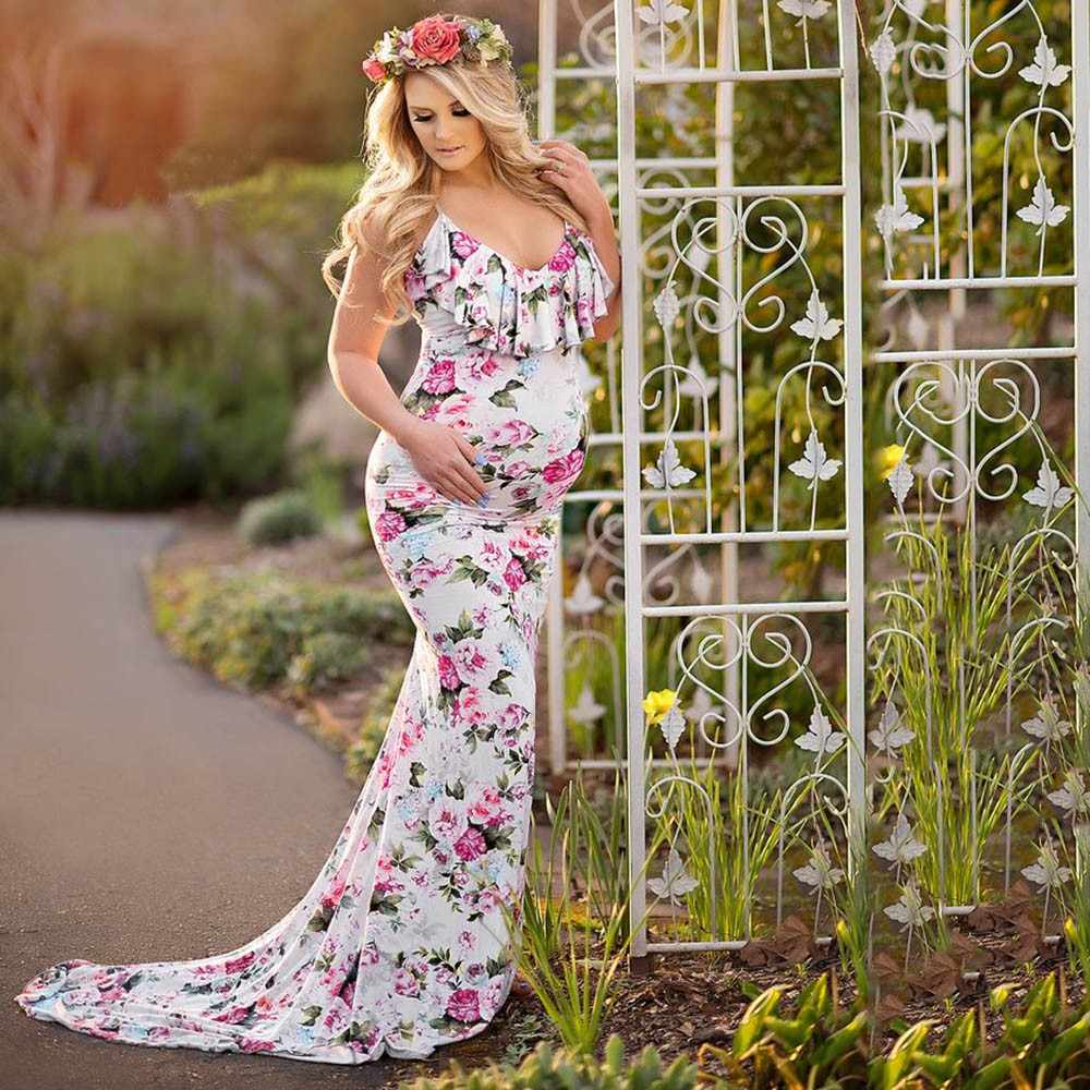 272163fcb2c Telotuny women clothing sling flowers printing maternity dresses pregnancy  dress photography elegant maternity clothes JL 20