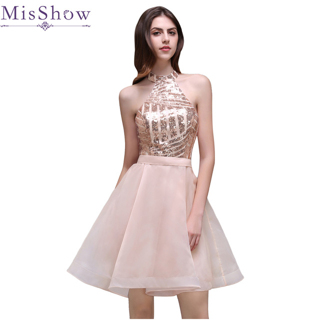 2018 Elegant Cheap Sequins A-Line Short Mini Cocktail Party Dresses Pink Halter Organza Sexy Backless Homecoming Prom Gown Dress